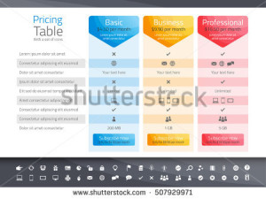 stock-vector-light-pricing-table-with-options-icon-set-included-507929971