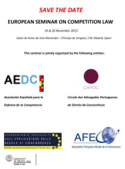 EU SEMINAR ON COMPETITION LAW, FINAL PROGRAM, MADRID 19-20 NOVEMBER